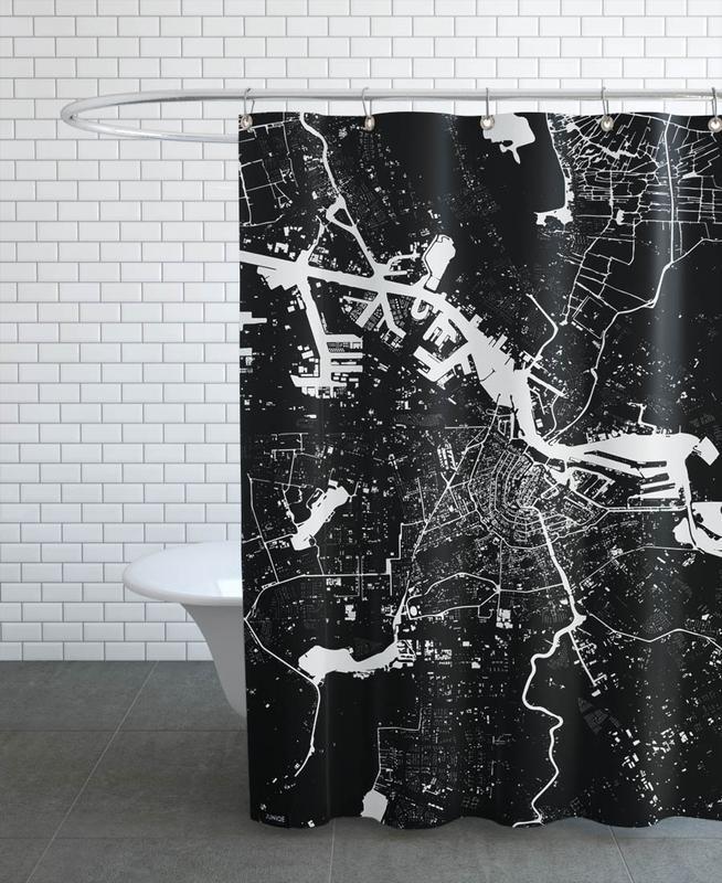 Noir & blanc, Cartes de villes, Amsterdam, Amsterdam Black rideau de douche