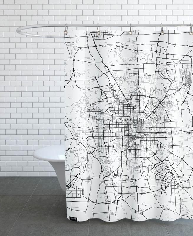 Noir & blanc, Cartes de villes, Bejing White rideau de douche