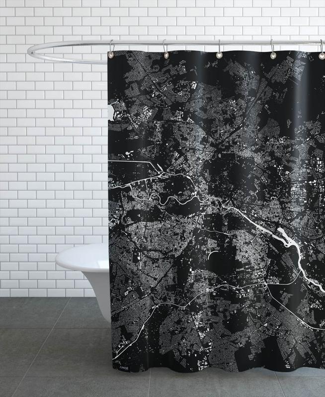 Noir & blanc, Berlin, Cartes de villes, Berlin Black rideau de douche