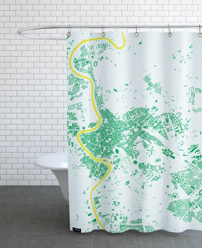 City Maps, Rome, Rome Green Shower Curtain