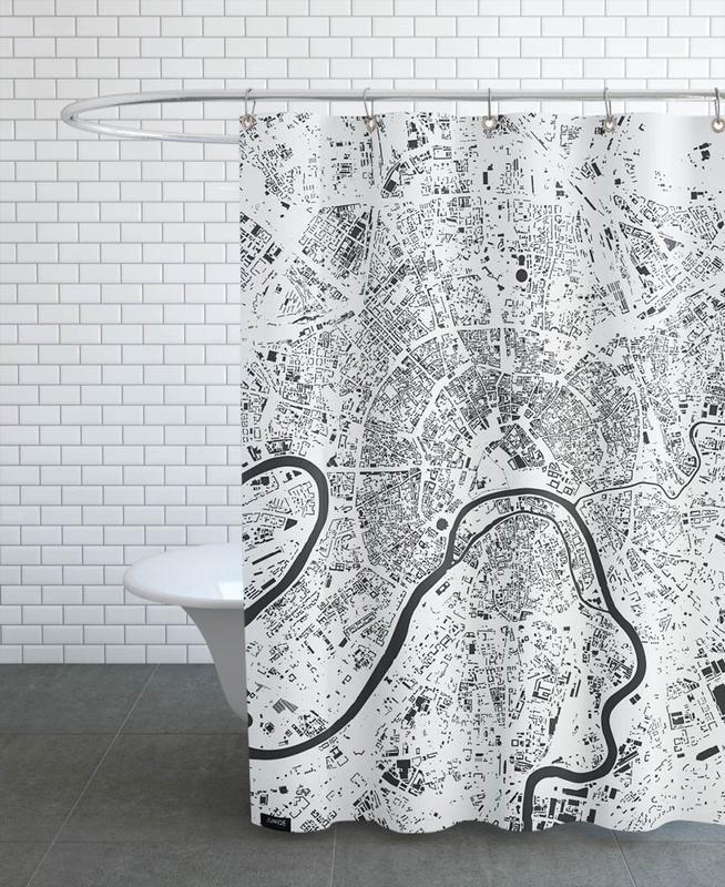 Noir & blanc, Cartes de villes, Moscow White rideau de douche