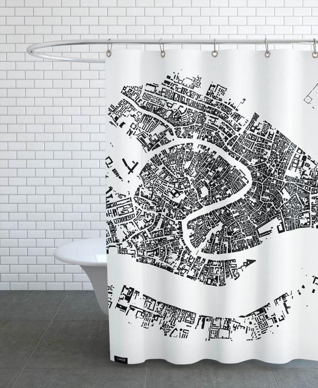 Noir & blanc, Cartes de villes, Venise, Venice White rideau de douche