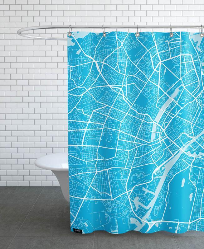 City Maps, Copenhagen, Copenhagen Blue Shower Curtain