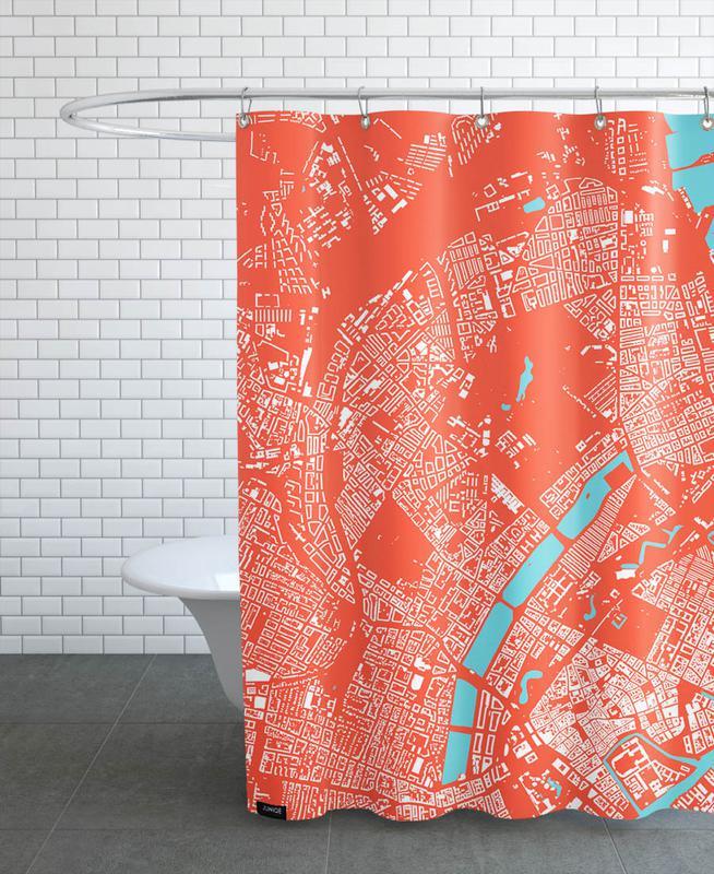 City Maps, Copenhagen, Copenhagen Red Shower Curtain
