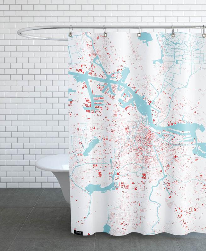 Amsterdam, Cartes de villes, Amsterdam Red rideau de douche