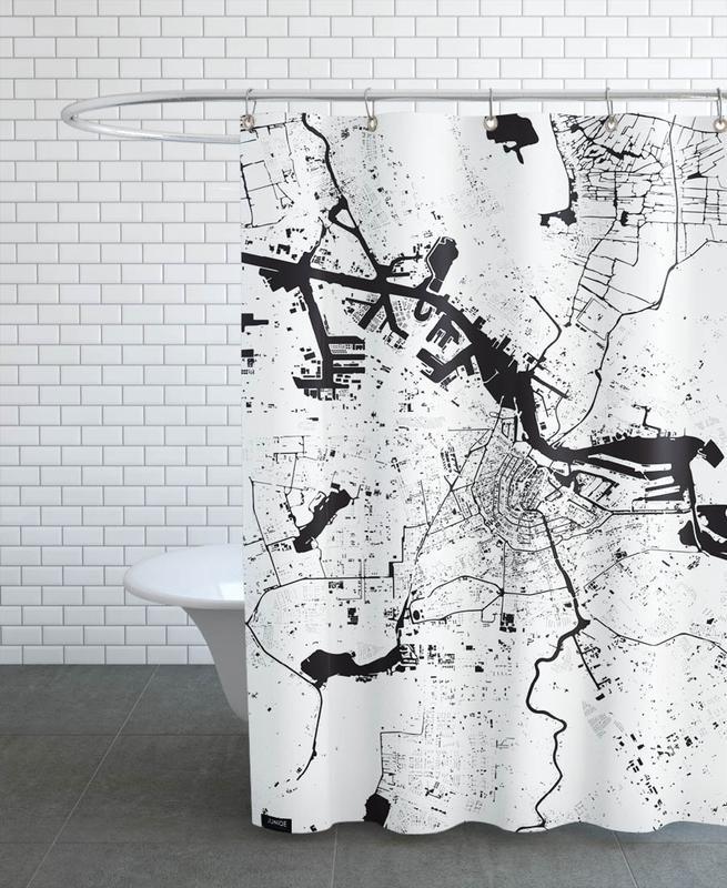 Noir & blanc, Cartes de villes, Amsterdam, Amsterdam White rideau de douche