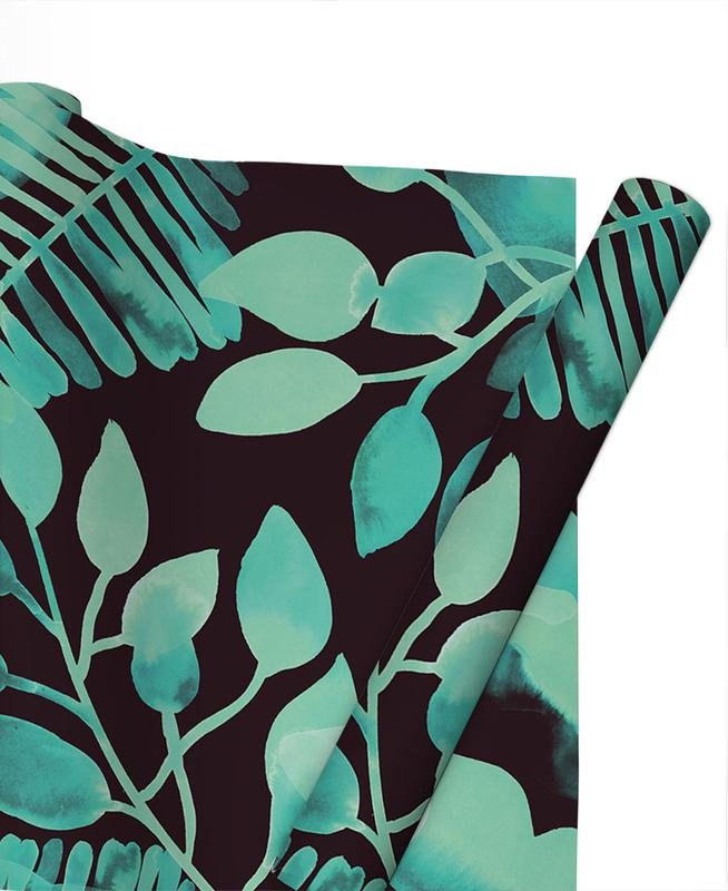 Leaves & Plants, Patterns, Leaves - Green Gift Wrap