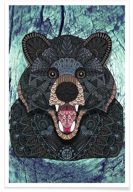Ours, Ours noir géométrique affiche
