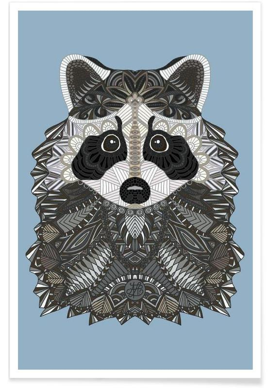 , Geometric Raccoon Poster
