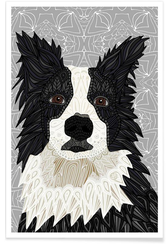 Geometrischer Border Collie -Poster