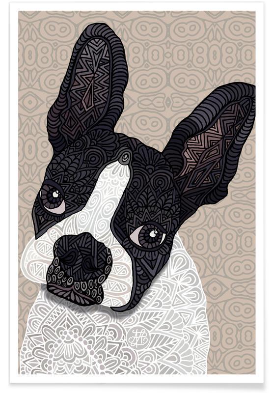 Chiens, Terrier de Boston géométrique affiche