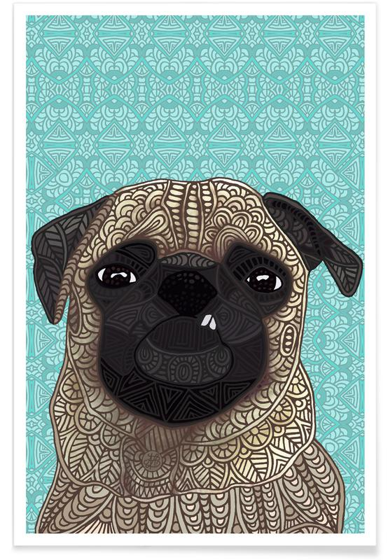 Dogs, Geometric Pug Poster