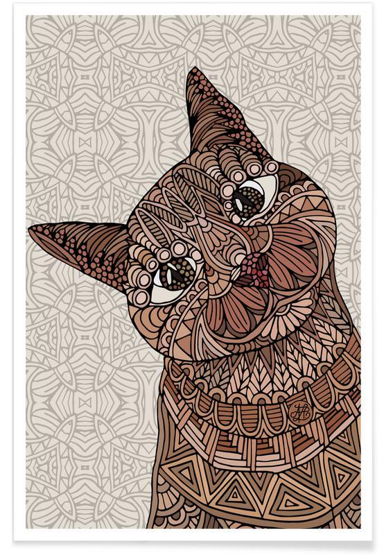 Chats, Chat Siamois géométrique affiche