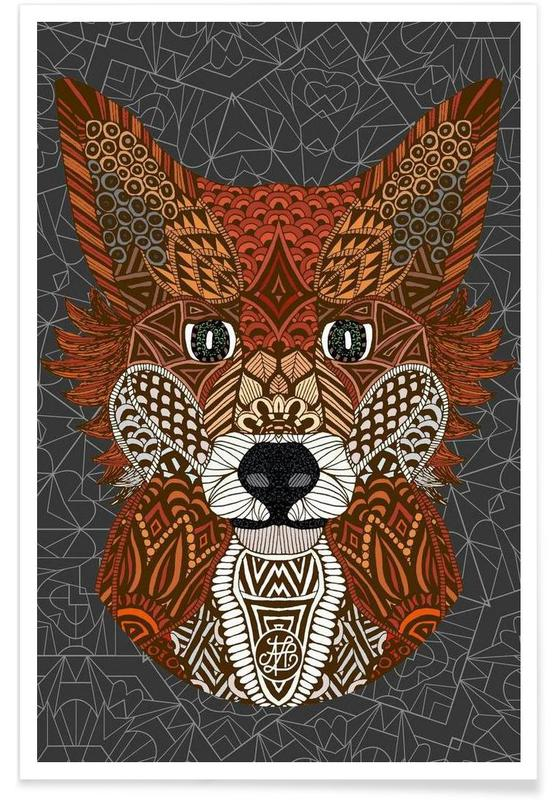 Foxes, Geometric Fox Poster