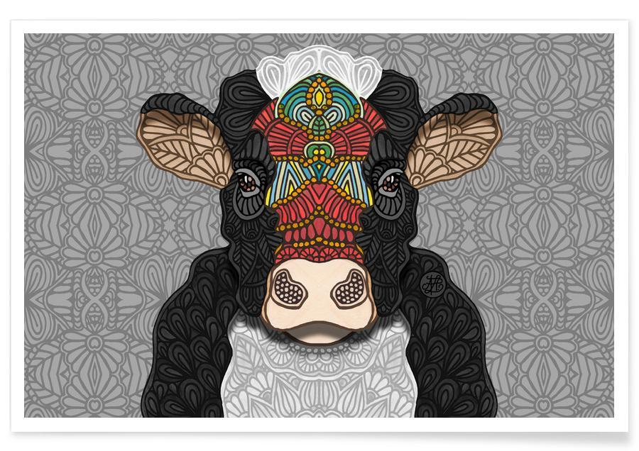 Vache géométrique affiche
