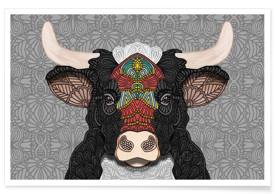 , Geometric Bull Poster