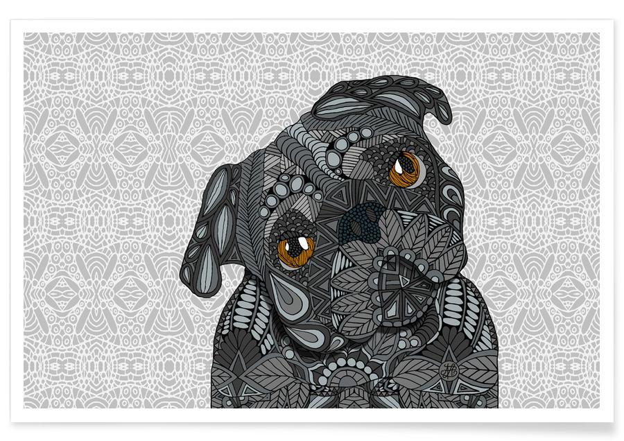 Dogs, Geometric Black Pug Poster