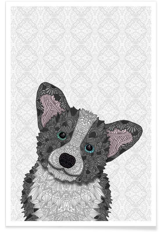 Chiens, Art pour enfants, Corgi gris géométrique affiche