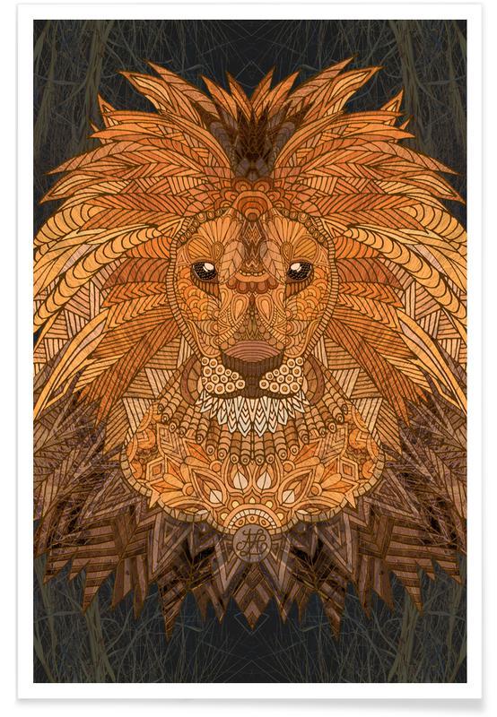 Art pour enfants, Lions, Roi Lion géométrique affiche