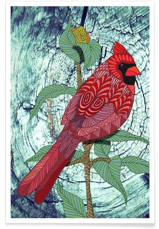 , Geometric Cardinal Poster