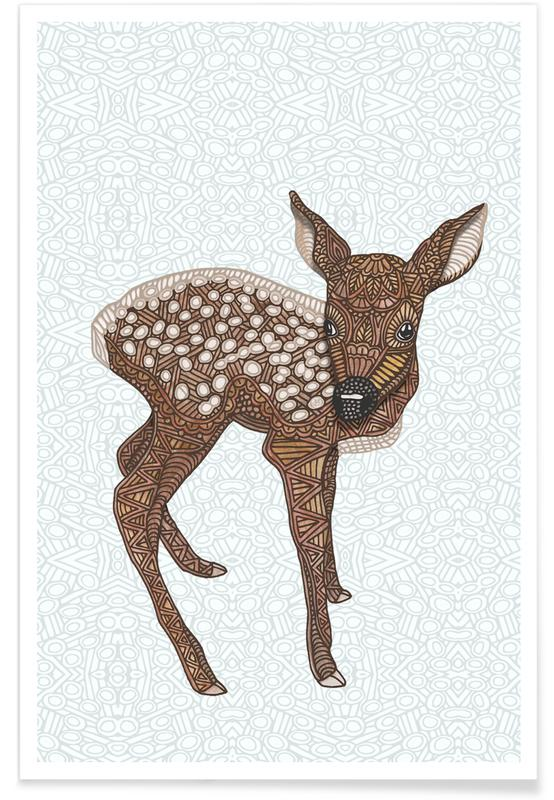 Cerfs, Art pour enfants, Fauve géométrique affiche
