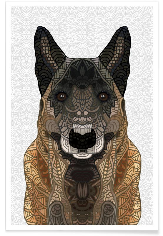 Dogs, Geometric Belgian Shepherd Poster