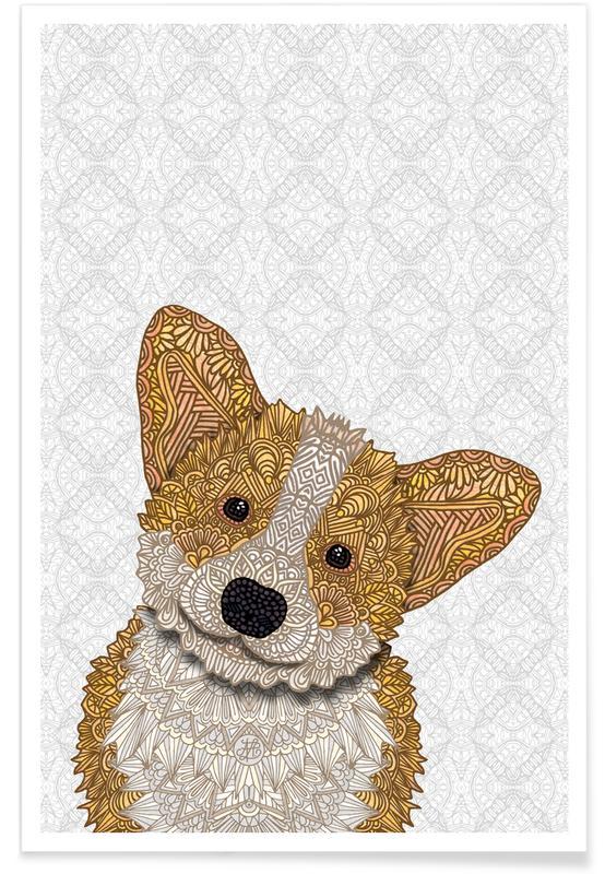Dogs, Nursery & Art for Kids, Geometric Golden Corgi Poster