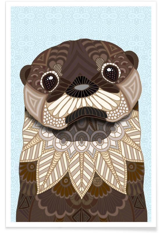 Nursery & Art for Kids, Geometric Otter Poster
