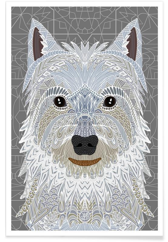 Chiens, Art pour enfants, Terrier Blanc géométrique affiche