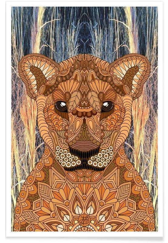 Safari Animals, Geometric Lioness Poster