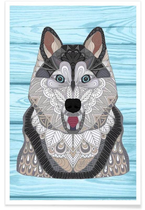 Loups, Husky géométrique affiche