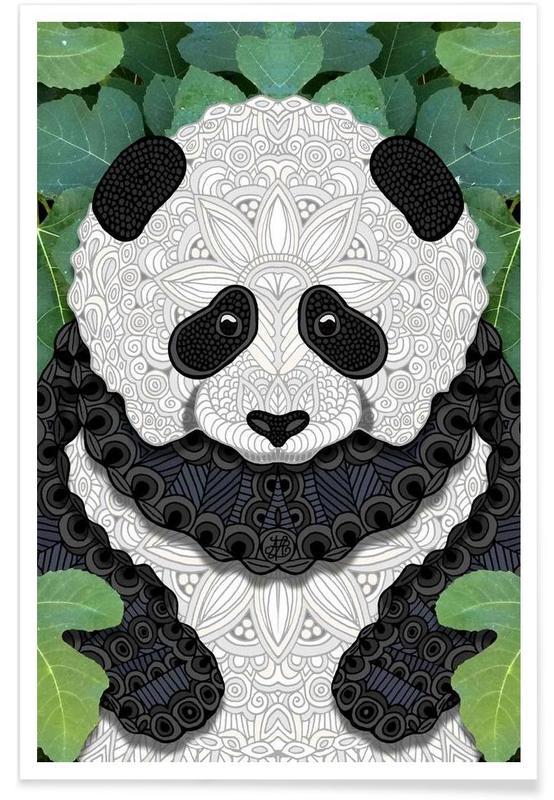 Pandas, Geometric Panda Bear Poster