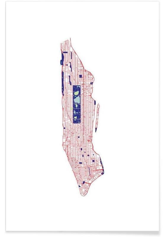 Stadskaarten, New York, Manhattan Grid poster