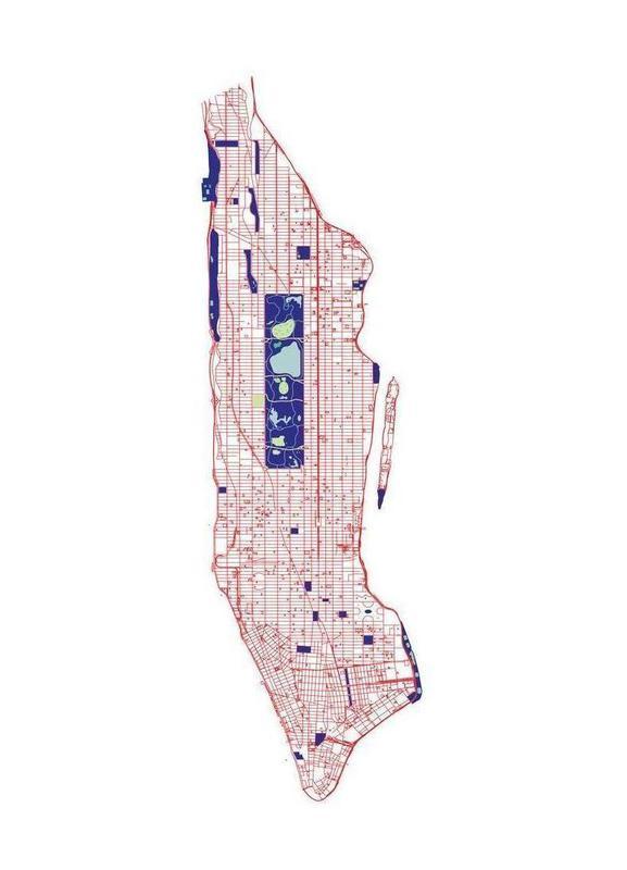 Manhattan Grid canvas doek