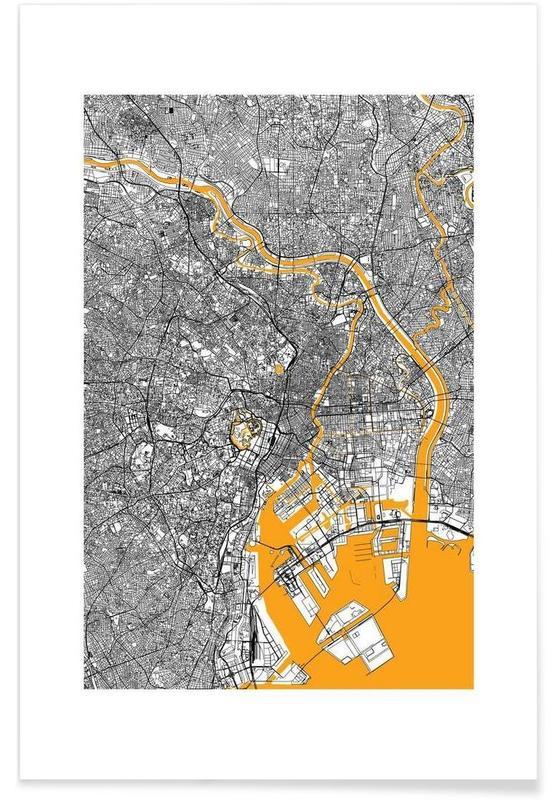 City Maps, Tokyo, Orange Infusion In Tokio Poster