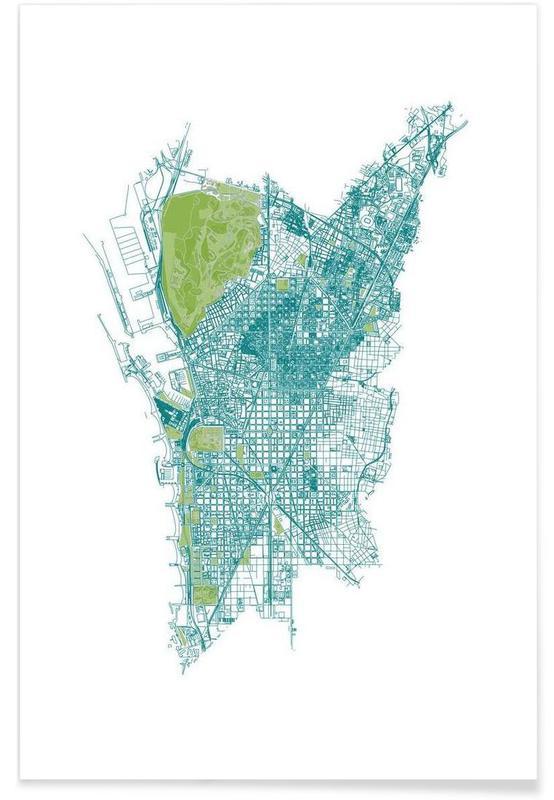 Barcelona, Stadskaarten, Barcelona Pattern No Pattern poster