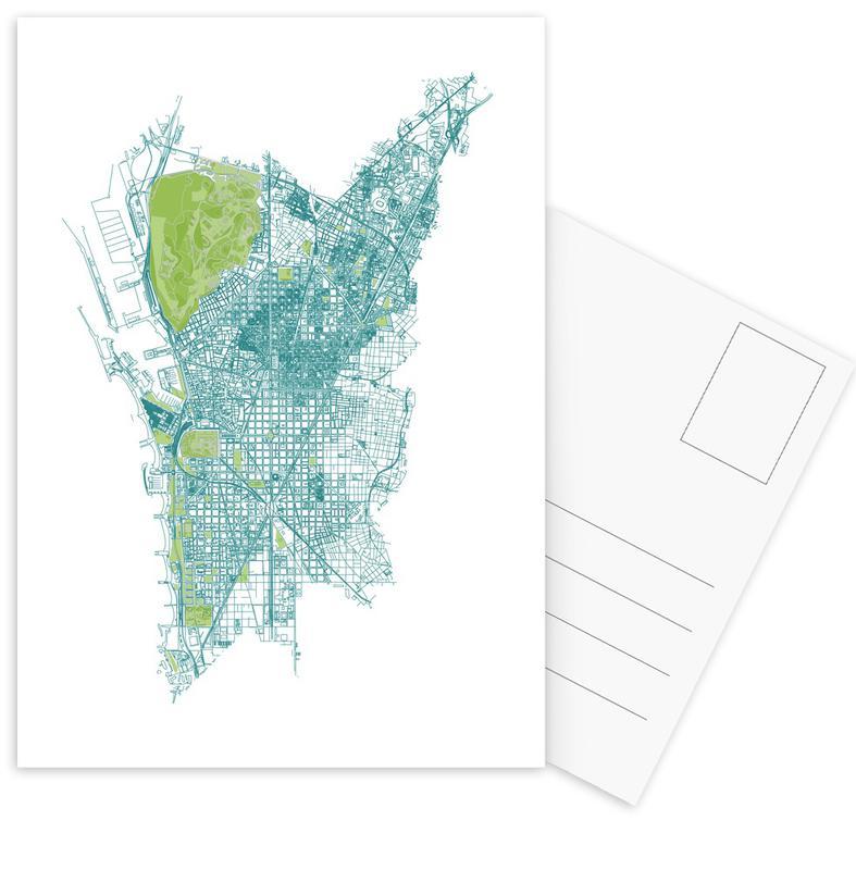 Barcelona, City Maps, Barcelona Pattern No Pattern Postcard Set