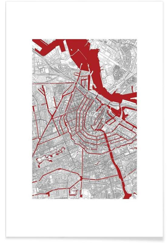 Amsterdam, Stadtpläne, Amsterdam's Liveblood -Poster