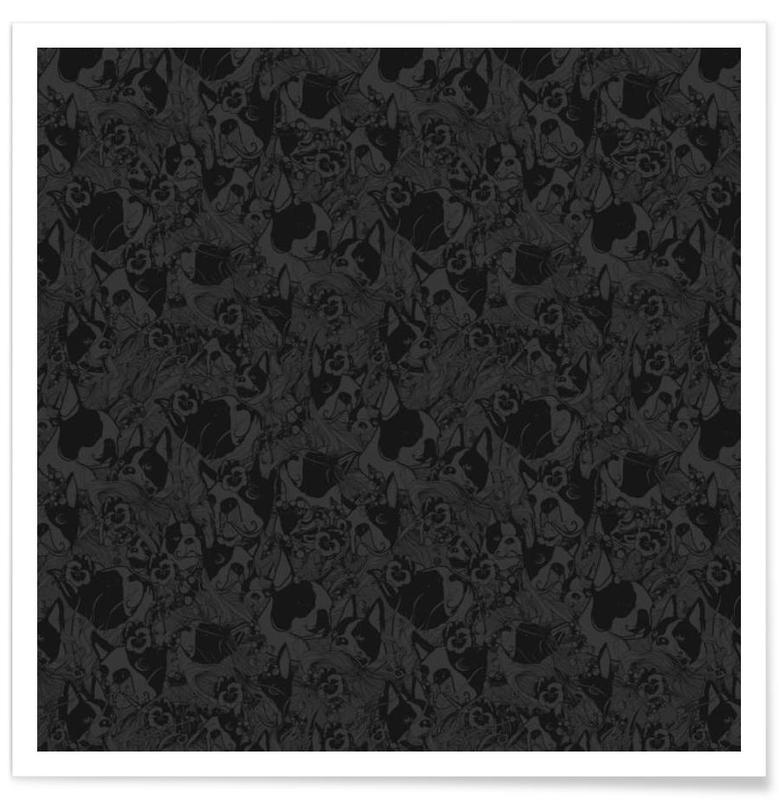 Noir & blanc, Chiens, Boston Black affiche
