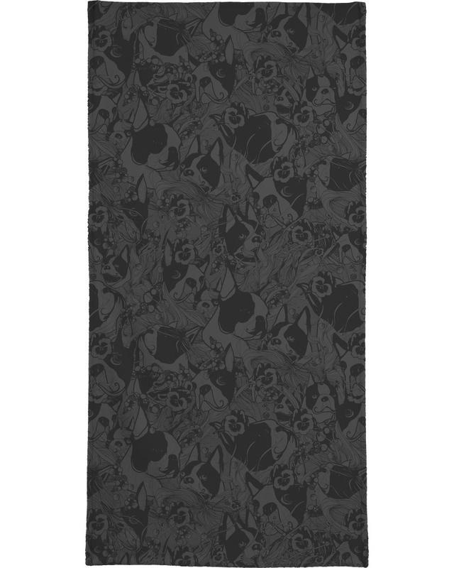 Noir & blanc, Chiens, Boston Black serviette de bain