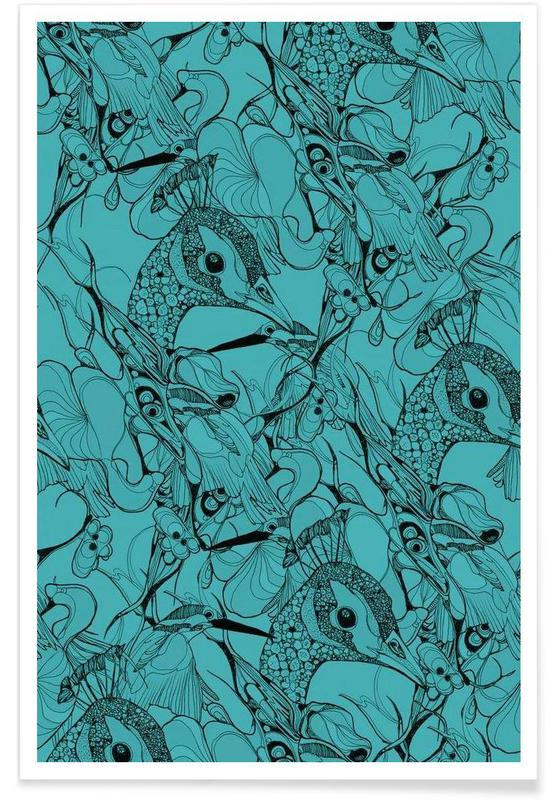 Paons, Peacock Green affiche