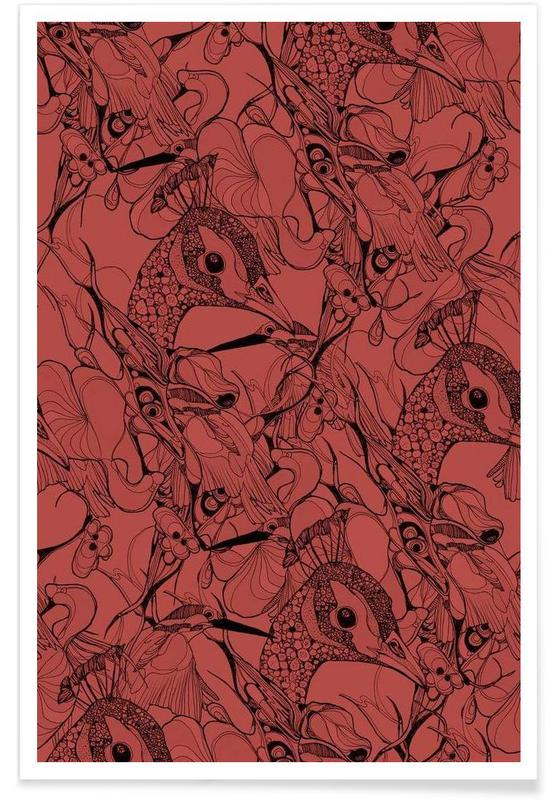 Paons, Peacock Red affiche
