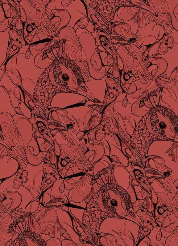 Peacock Red toile