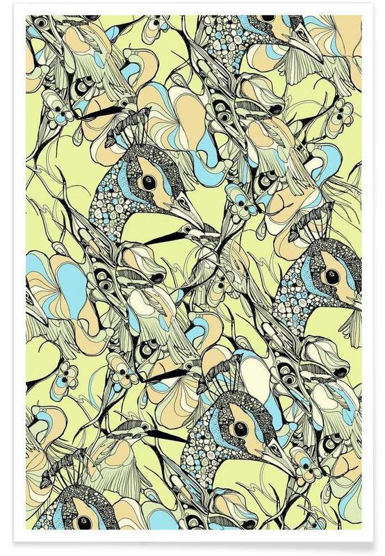 Peacocks, Peacock Yellow Poster