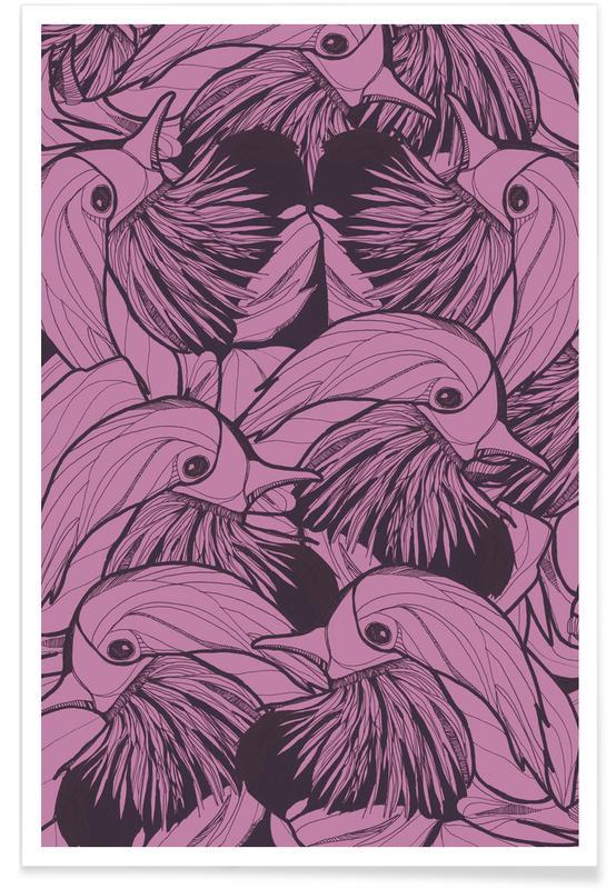 Canards, Motifs, Birds Pink affiche