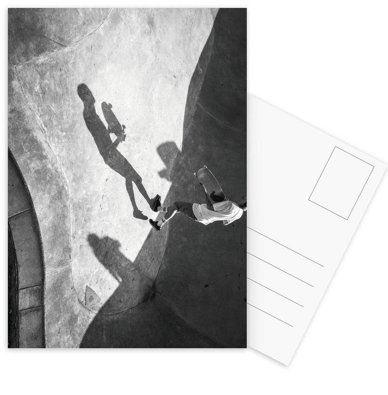 Black & White, Skating, No Flip x But Still Flipped Postcard Set