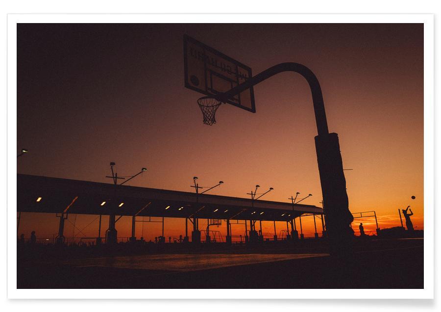 Voyages, Basket-ball, New York, Sunset affiche