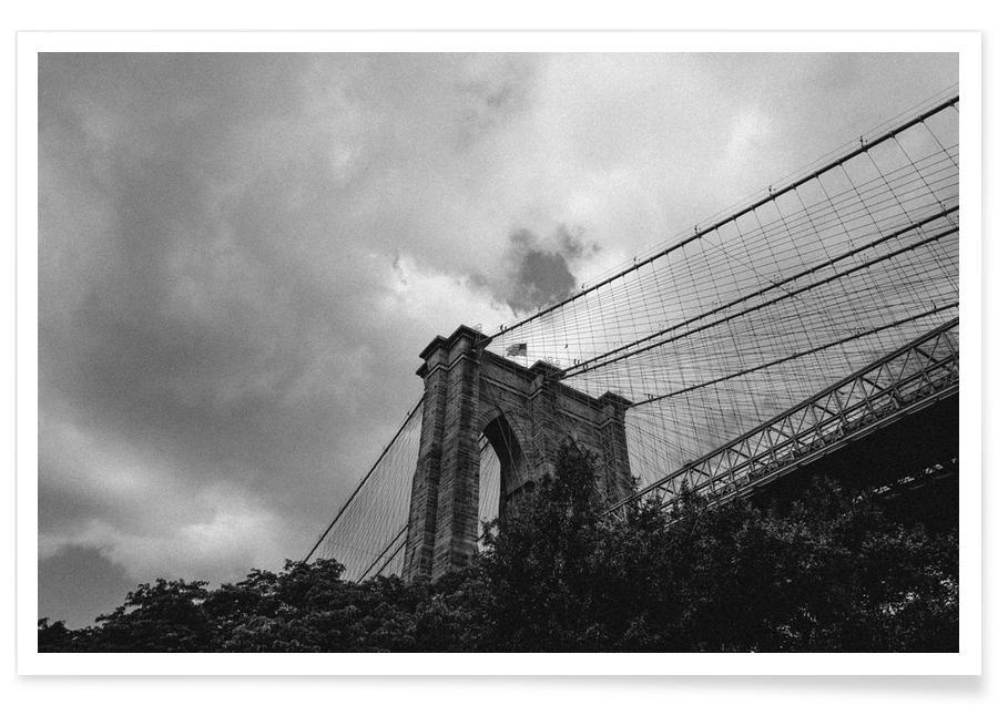 Schwarz & Weiß, New York, Sehenswürdigkeiten & Wahrzeichen, Reise, Moody Sky -Poster