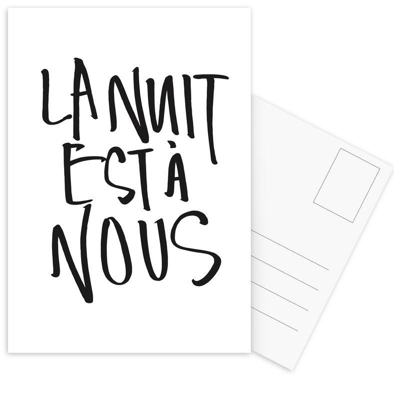 Zwart en wit, Quotes en slogans, Liefdescitaten, La Nuit Est à Nous ansichtkaartenset