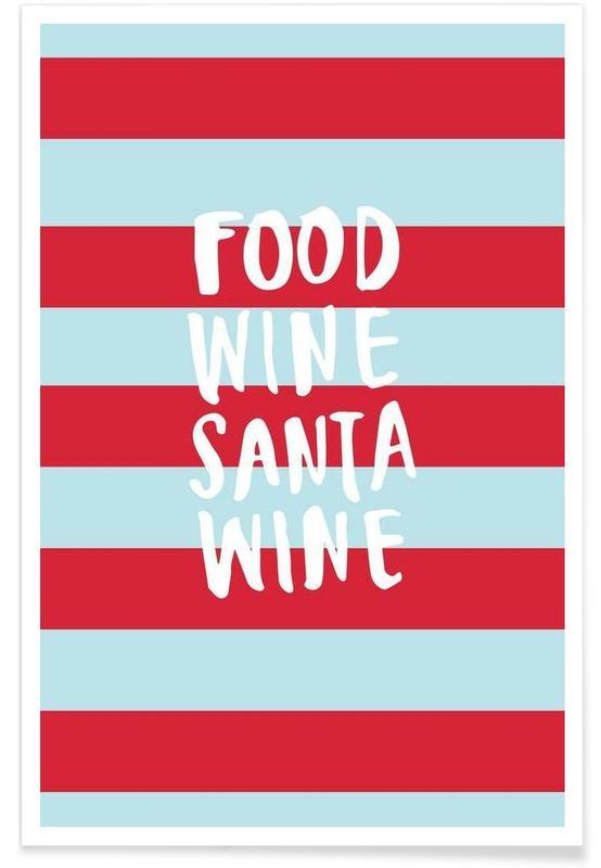 Christmas, Quotes & Slogans, Food, Wine, Santa, Wine Poster
